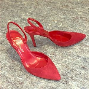 Delman red suede sling back pumps